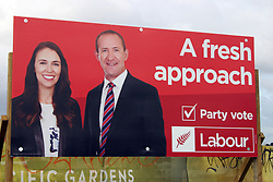 Joint election hoardings of the Greens and Labour Parties remain after leaderships changed, Auckland, New Zealand, Saturday, August 12, 2017. Credit:SNPA / Grahame Clark **NO ARCHIVING**