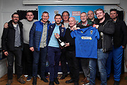 AFC Wimbledon attacker Shane McLoughlin (19) receiving man of match award during the EFL Sky Bet League 1 match between AFC Wimbledon and Fleetwood Town at the Cherry Red Records Stadium, Kingston, England on 8 February 2020.