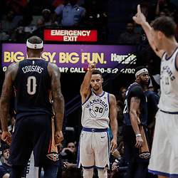 Oct 20, 2017; New Orleans, LA, USA; Golden State Warriors guard Stephen Curry (30) signals to guard Klay Thompson (11) after hitting a three point basket during the fourth quarter of a game against the New Orleans Pelicans at the Smoothie King Center. The Warriors defeated the Pelicans 128-120.  Mandatory Credit: Derick E. Hingle-USA TODAY Sports