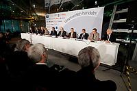 """25 NOV 2010, BERLIN/GERMANY:<br /> Dr. Arend Oetker, Dr. Arend Oetker Holding GmbH, Prof. Klaus Dieter Maubach, Vorstandsmitglied E.ON AG, Dr. Klaus Engel, Vorstandsvorsitzender Evonik Industries AG, Prof. Renate Koecher, Geschaeftsfuehrerin Institut fuer Demoskopie Allensbach, Prof. Dr. Josef Ackermann, Vorstandsvorsitzender Deutsche Bank AG, Dr. Juergen Strube, Aufsichtsratsvorsitzender BASF, Dr. Juergen Hambrecht, Vorstandsvorsitzender BASF SE, Dr. Hermann Scholl, Aufsichsratvorsitzender Bosch GmbH, Stefan Fuchs, Vorstandsvorsitzender Fuchs Petrolub AG, Dr. Ulrich Scheufelen, Aufsichtsrat Powerflute, (v.R.n.L.), Pressegespraech """"Leitbild fuer verantwortliches Handeln in der Wirtschaft"""", Clubraum, Akademie der Kuenste<br /> IMAGE: 20101125-01-054"""