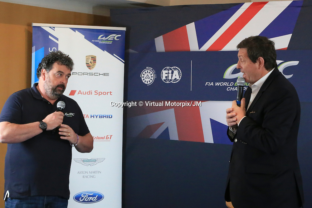 John Hindhaugh and Gerard Neveu, CEO of WEC, Silverstone Press Conference, FIA WEC Prologue Circuit Paul Ricard, 24/03/2016,
