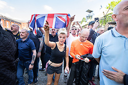 © Licensed to London News Pictures . 19/05/2018. Manchester, UK. FLA supporters shout at counter-protesting Stand Up to Racism supporters at Castlefield Bowl . The Football Lads Alliance demonstrate in Manchester , three days before the first anniversary of the Manchester Arena terror attack . Photo credit: Joel Goodman/LNP