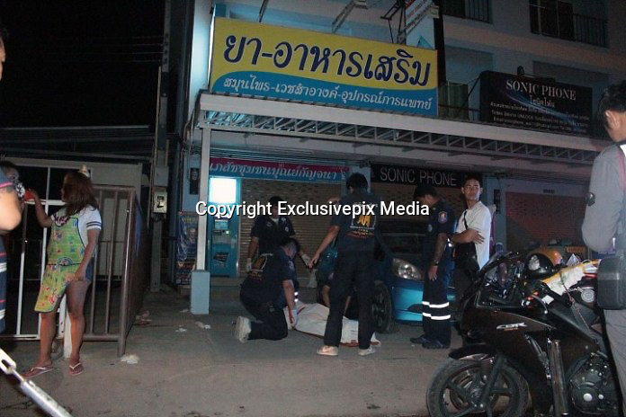German dies as locals assume he is drunk and leave him on the ground<br /> <br /> October 5, Pattaya police were called to the scene for what appeared to be a mystery death in front of the Community Pharmacy Boonkanchana 10/9 Soi Watboonkanchanaram, Pattaya.<br /> <br /> There Sawang Boriboon medics attended the body of fifty-six-year old German national, Mr Frank Butter, who was laying on the ground. He appeared to have been foaming at the mouth.<br /> <br /> Medics estimated he had been dead for three-hours and there was no sign of any struggle, violence or injury.<br /> <br /> Officers crucially discovered an asthma spray in his pocket and this was taken as evidence.<br /> <br /> Thirty-one year old food vendor, Ms Kanchana Chomchuen, said that as she was preparing food she had seen Mr Butter hanging onto the railing as though he was drunk. She watched as he fell.<br /> <br /> She assumed he was drunk and left him there. It was only when she was packing up for the night that she went across to try and wake him, only to realize he was dead.<br /> <br /> Officers are assuming he had gone to the pharmacy to buy more asthma spray only to find it closed, had a seizure and died outside.<br /> <br /> The body has been sent for autopsy to establish the cause of death.<br /> ©Exclusivepix Media