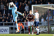 Millwall goalkeeper Jordan Archer (1) makes an important save during the EFL Sky Bet League 1 match between Northampton Town and Millwall at Sixfields Stadium, Northampton, England on 15 October 2016. Photo by Dennis Goodwin.