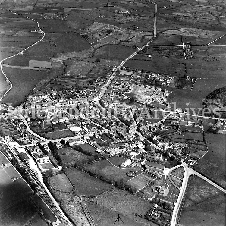A414 Swinford.   12/03/54. (Part of the Independent Newspapers Ireland/NLI collection.)<br /> <br /> <br /> These aerial views of Ireland from the Morgan Collection were taken during the mid-1950's, comprising medium and low altitude black-and-white birds-eye views of places and events, many of which were commissioned by clients. From 1951 to 1958 a different aerial picture was published each Friday in the Irish Independent in a series called, 'Views from the Air'.
