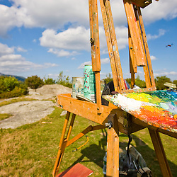 An artist's easel faces Mount Monadnock on Gap Mountain in Troy, New Hampshire.  Society for the Protection of New Hampshire Forests' Gap Mountain Reservation.