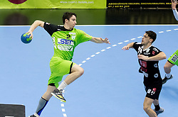 12.11.2016, BSFZ Suedstadt, Maria Enzersdorf, AUT, HLA, SG INSIGNIS Handball WESTWIEN vs Sparkasse Schwaz HANDBALL TIROL, Grunddurchgang, 12. Runde, im Bild Philipp Seitz (WestWien), Armin Hochleitner (Sparkasse Schwaz HANDBALL TIROL) // during Handball League Austria, 12 th round match between SG INSIGNIS Handball WESTWIEN and Sparkasse Schwaz HANDBALL TIROL at the BSFZ Suedstadt, Maria Enzersdorf, Austria on 2016/11/12, EXPA Pictures © 2016, PhotoCredit: EXPA/ Sebastian Pucher