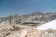 The view along the John Muir Trail overlooking Warrior Lake, John Muir Wilderness, Sierra National Forest, Sierra Nevada Mountains, California, USA.