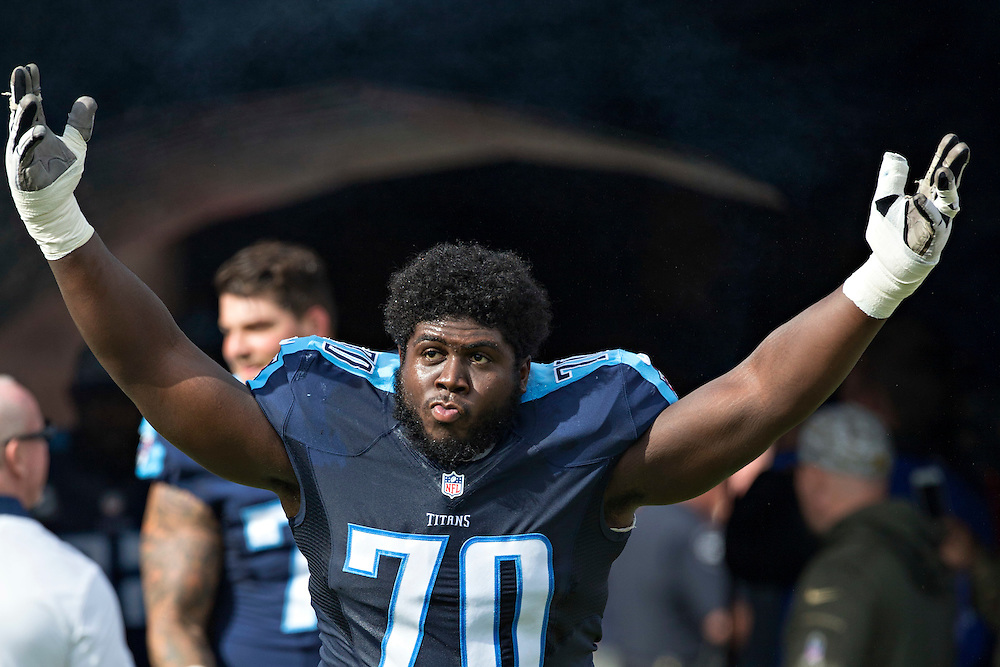 NASHVILLE, TN - NOVEMBER 15:  Chance Warmack #70 of the Tennessee Titans runs onto the field before a game against the Carolina Panthers at Nissan Stadium on November 15, 2015 in Nashville, Tennessee.  (Photo by Wesley Hitt/Getty Images) *** Local Caption *** Chance Warmack