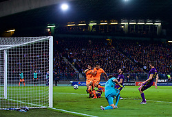 MARIBOR, SLOVENIA - Tuesday, October 17, 2017: Liverpool's Mohamed Salah and Roberto Firmino combine to score the fourth goal during the UEFA Champions League Group E match between NK Maribor and Liverpool at the Stadion Ljudski vrt. (Pic by David Rawcliffe/Propaganda)