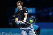 Andy Murray with a backhand during the ATP World Tour Finals at the O2 Arena, London, United Kingdom on 20 November 2015. Photo by Phil Duncan.