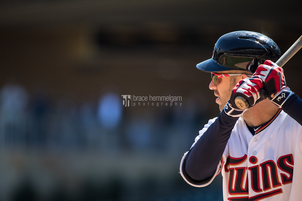 MINNEAPOLIS, MN- APRIL 6: Joe Mauer #7 of the Minnesota Twins bats against the Kansas City Royals on April 6, 2017 at Target Field in Minneapolis, Minnesota. The Twins defeated the Royals 5-3. (Photo by Brace Hemmelgarn) *** Local Caption *** Joe Mauer
