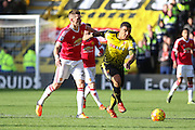 Troy Deeney of Watford battles with Morgan Schneiderlin of Manchester United during the Barclays Premier League match between Watford and Manchester United at Vicarage Road, Watford, England on 21 November 2015. Photo by Phil Duncan.
