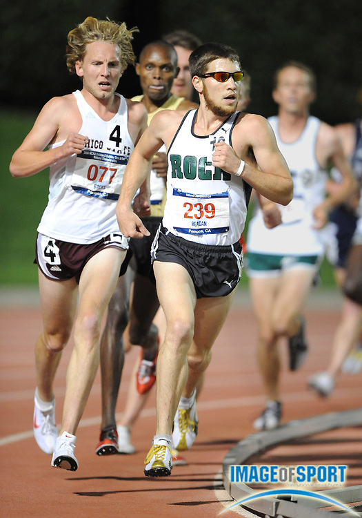 May 24, 2008; Walnut, CA, USA; Pat Reagan of Slippery Rock (239) and Scott Bauhs of Chico State (077) lead the 5,000m in the NCAA Division II Track & Field Championships at Mt. San Antonio College's Hilmer Lodge Stadium. Bauhs won in 14:00.65 and Reagan was 10th in 14:40.79.