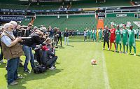 German Soccer Bundesliga 2015/16 - Photocall of Werder Bremen on 10 July 2015 in Bremen, Germany: Viktor Skripnik, Felix Wiedwald, Ulisses Garcia, Florian Grillitsch, Anthony Ujah