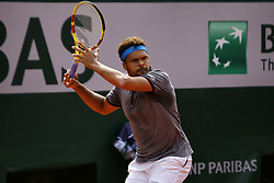 May 27, 2019 - Paris, France - France's Jo-Wilfried Tsonga in action during his men's singles first round match against Germany's Peter Gojowczyk on day two of The Roland Garros 2019 French Open tennis tournament in Paris on May 27, 2019. (Credit Image: © Ibrahim Ezzat/NurPhoto via ZUMA Press)