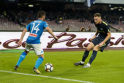 October 21, 2017 - Napoli, Napoli, Italy - Naples - Italy 21/10/2017.DRIES MERTENS of  S.S.C. NAPOLI   and MILAN SKRINIAR of  Inter  fights for the ball during Serie A  match between S.S.C. NAPOLI and Inter  at Stadio San Paolo of Naples. (Credit Image: © Emanuele Sessa/Pacific Press via ZUMA Wire)