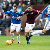St Johnstone v Hearts…29.09.18…   Tynecastle     SPFL<br />Danny Swanson battles with Michael Smith<br />Picture by Graeme Hart. <br />Copyright Perthshire Picture Agency<br />Tel: 01738 623350  Mobile: 07990 594431