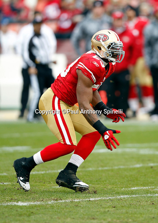San Francisco 49ers linebacker NaVorro Bowman (53) chases the action during the NFL week 17 football game against the Arizona Cardinals on Sunday, January 2, 2011 in San Francisco, California. The 49ers won the game 38-7. (©Paul Anthony Spinelli)
