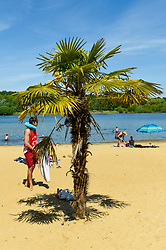 © Licensed to London News Pictures. 20/05/2020. LONDON, UK.  A palm tree brings a tropical feel as members of the public take advantage of the easing of certain coronavirus pandemic lockdown restrictions to enjoy the sunshine and warm weather at the beach at Ruislip Lido in north west London.   The forecast is for temperatures to rise to 29C, the hottest day of the year so far.  Photo credit: Stephen Chung/LNP