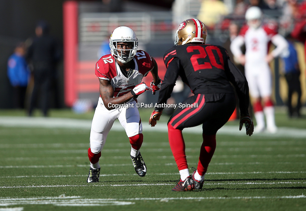 Arizona Cardinals wide receiver John Brown (12) goes out for a pass while covered by San Francisco 49ers cornerback Kenneth Acker (20) during the 2015 week 12 regular season NFL football game against the San Francisco 49ers on Sunday, Nov. 29, 2015 in Santa Clara, Calif. The Cardinals won the game 19-13. (©Paul Anthony Spinelli)