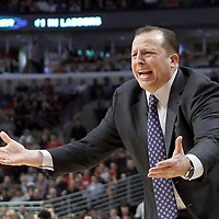 12 March 2012: Chicago Bulls head coach Tom Thibodeau reacts during the first half of New York Knicks vs Chicago Bulls, at the United Center, Chicago, Illinois, USA.