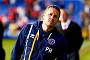 Shrewsbury Town manager Paul Hurst  during the EFL Sky Bet League 1 Play Off second leg match between Shrewsbury Town and Charlton Athletic at Greenhous Meadow, Shrewsbury, England on 13 May 2018. Picture by Simon Davies.