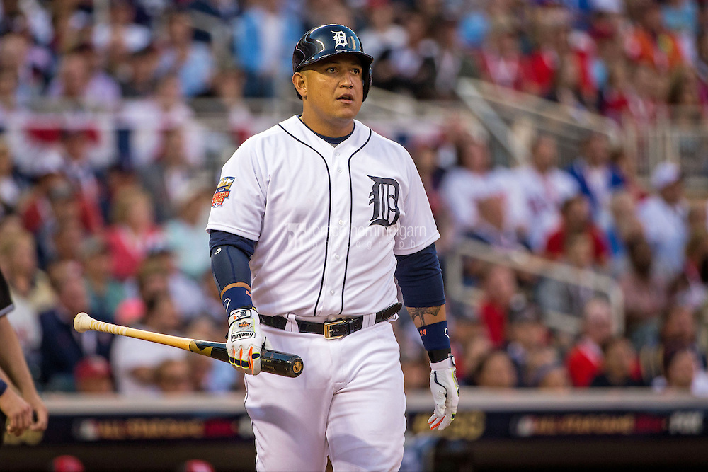 MINNEAPOLIS, MN- JULY 15: American League All-Star Miguel Cabrera #24 of the Detroit Tigers during the 85th MLB All-Star Game at Target Field on July 15, 2014 in Minneapolis, Minnesota. (Photo by Brace Hemmelgarn) *** Local Caption *** Miguel Cabrera