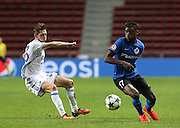 Benjamin Verbic of Copenhagen in action with Anthony Limbombe of Brugge during the Champions League match between FC Copenhagen and Club Brugge at Parken Stadium, Copenhagen, Denmark on 27 September 2016. Photo by Andrew Halseid-Budd.