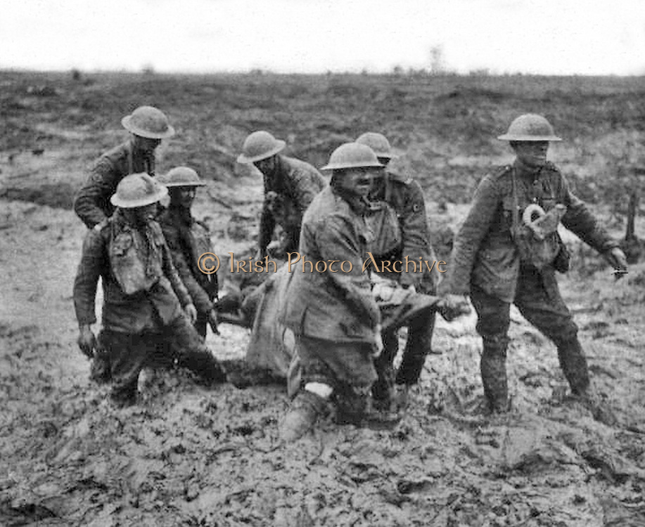 Stretcher bearers Passchendaele August 1917.  Stretcher bearers struggling through the mud near Boesinghe, August 1, 1917, during the Battle of Pilckem Ridge (part of the Third Battle of Ypres).