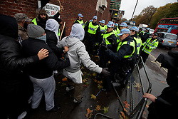 © under license to London News Pictures. 11/11/2010. Muslims Against Crusaders protesters confront police during their demonstration on Exhibition Street in Kensington, on Armistice Day.