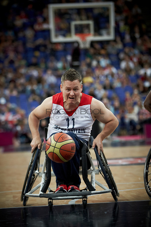 Matt Byrne of Great Britain in the Men's Wheelchair Basketball against Colombia at the North Greenwich Arena on dat 3 of the London 2012 Paralympic Games. 1st September 2012.