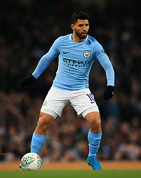 Sergio Aguero of Manchester City - Mandatory by-line: Matt McNulty/JMP - 09/01/2018 - FOOTBALL - Etihad Stadium - Manchester, England - Manchester City v Bristol City - Carabao Cup Semi-Final First Leg