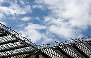 A plane flys over St. James's Park with a message saying Auf Wiedersehen Prem, Tyne to go during the Barclays Premier League match at St. James's Park, Newcastle<br /> Picture by Simon Moore/Focus Images Ltd 07807 671782<br /> 15/05/2016