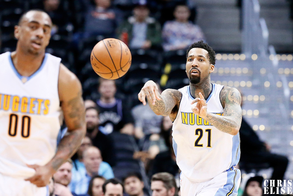 06 March 2017: Denver Nuggets forward Wilson Chandler (21) passes the ball during the Denver Nuggets 108-96 victory over the Sacramento Kings, at the Pepsi Center, Denver, Colorado, USA.