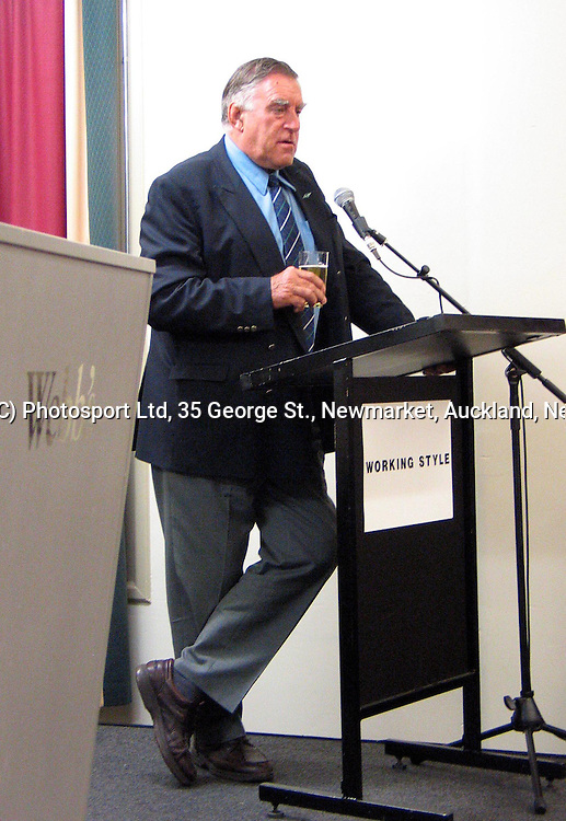 Former All Blacks great Colin Meads speaks at a function in Parnell, Auckland, Tuesday 15 June 2004. Bush's legendary rugby images were auctioned to raise funds for the Cancer Society.<br />