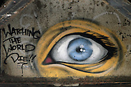 Photo Randy Vanderveen.Yuma, Arizona.A large eye painted on the underside of the Union Pacific rail bridge next to the Ocean to Ocean Bridge over the Colorado River in Yuma Arizona