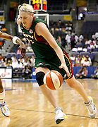 Seattle Storm center Lauren Jackson drives to the basket during this WNBA game between the Mystics and the Storm at the Verizon Center in Washington, DC. The Storm won 73-71.  July 23, 2006  (Photo by Mark W. Sutton)