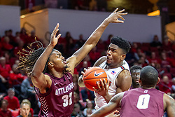 NORMAL, IL - November 10: Rey Idowu mixes it up with Kris Bankston during a college basketball game between the ISU Redbirds and the Little Rock Trojans on November 10 2019 at Redbird Arena in Normal, IL. (Photo by Alan Look)