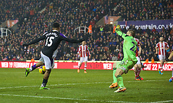 STOKE-ON-TRENT, ENGLAND - Sunday, January 12, 2014: Liverpool's Daniel Sturridge scores the fifth goal against Stoke City during the Premiership match at the Britannia Stadium. (Pic by David Rawcliffe/Propaganda)