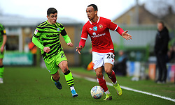 Jack Aitchison of Forest Green Rovers compost with Shay Facey of Walsall- Mandatory by-line: Nizaam Jones/JMP - 08/02/2020 - FOOTBALL - New Lawn Stadium - Nailsworth, England - Forest Green Rovers v Walsall - Sky Bet League Two