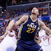 01 February 2014: Utah Jazz center Rudy Gobert (27) vies for the rebound with Los Angeles Clippers power forward Blake Griffin (32) during the Los Angeles Clippers 102-87 victory over the Utah Jazz at the Staples Center, Los Angeles, California, USA.