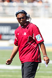 September 24, 2011; San Jose, CA, USA;  New Mexico State Aggies head coach DeWayne Walker watches his team before the game against the San Jose State Spartans at Spartan Stadium. San Jose State defeated New Mexico State 34-24.