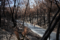 An early break through charred land on Stage 3 of 2020 Santos Women's Tour Down Under, a 109.1 km road race from Nairne to Stirling, Australia on January 18, 2020. Photo by Sean Robinson/velofocus.com
