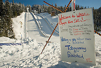 The Ski Jump at Whistler Olympic Park is ready for action. in Whistler, BC Canada.