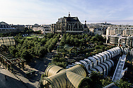 France. Paris. elevated view. Sainte Eustache church, the forum des halles, and the sacre Coeur. view from the hotel novotel les halles