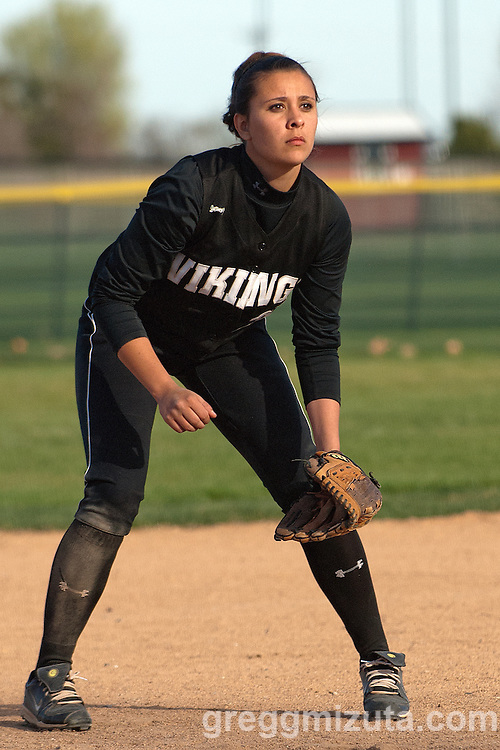 Vale third baseman Jaylene Tolman during the Vale Parma softball game, April 15, 2014 at Parma, Idaho.