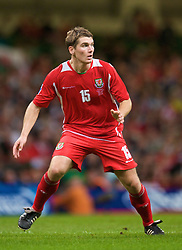CARDIFF, WALES - Friday, September 5, 2008: Wales' Sam Vokes in action against Azerbaijan during the opening 2010 FIFA World Cup South Africa Qualifying Group 4 match at the Millennium Stadium. (Photo by David Rawcliffe/Propaganda)