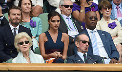 Image licensed to i-Images Picture Agency. 06/07/2014. London, United Kingdom. David and Victoria Beckham with Samuel L Jackson in the Royal Box  at the Wimbledon Men's Final.  Picture by i-Images