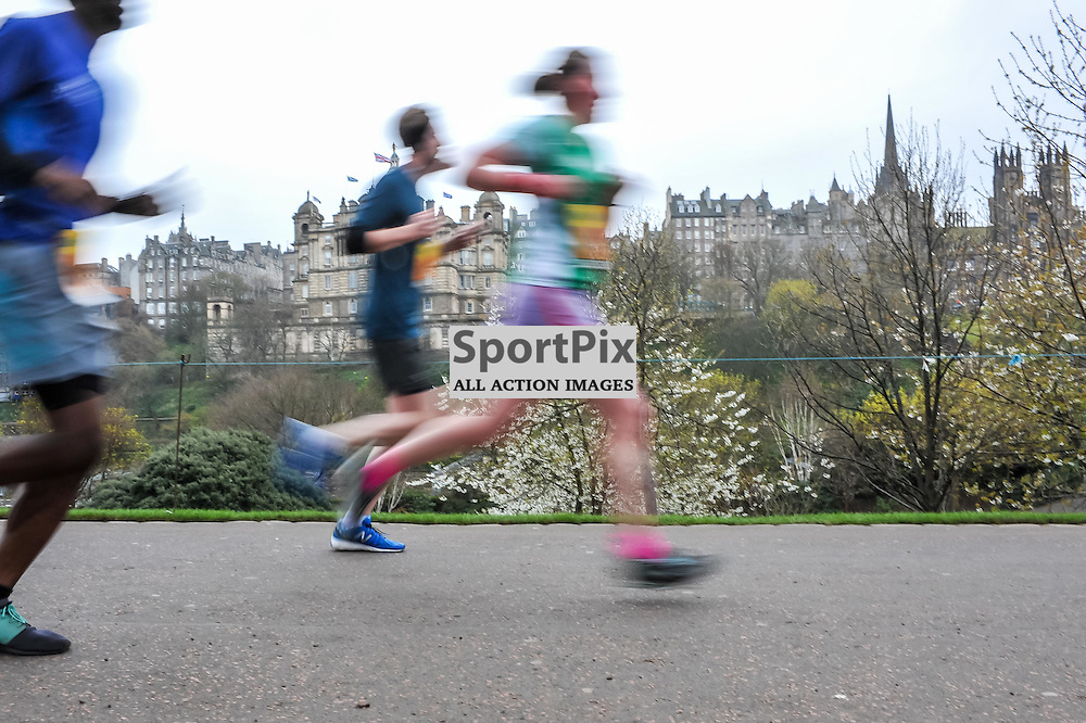 Runners in the Great Edinburgh Run get a great tour of the city. 19 April 2015. (c) Paul J Roberts / Sportpix.org.uk